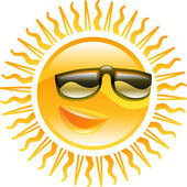 Smiling sun with sunglasses illustration — Stock Vector