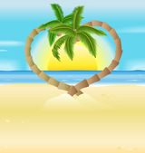 Romantic beach, heart palm trees illustration — Stock Vector