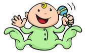 Happy cute baby playing with rattle — Stock Vector