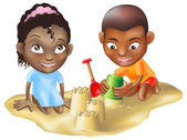 Two children playing on the beach — Stock Vector