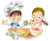 Two children having fun in the kitchen — Stock Vector
