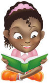 Illustration cute black girl reading book — Stock Vector