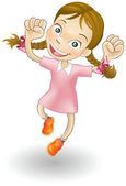 Young girl jumping for joy — Stock Vector