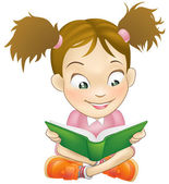 Illustration young girl reading book — Stock Vector
