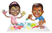 Due bambini che giocano con vernice — Vettoriale Stock