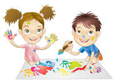 Two young children playing with paints — Stock Vector