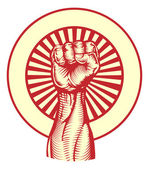 Poing de style affiche propagande soviétique — Vecteur