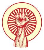 Soviet propaganda poster style fist — Stock Vector