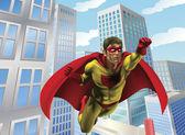 Superhero flying through city — Stock Vector