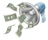 Money megaphone — Stock Vector
