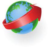 Spinning globe arrow illustration — Stock Vector