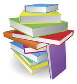 Big stack of books illustration — Stock Vector