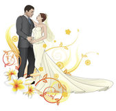 Bride and groom dancing floral background — Stock Vector