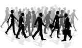 Business walking crowd rushing — Stock Vector