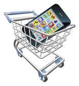 Smart phone shopping cart concept — Stock Vector