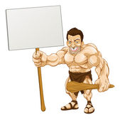 Caveman holding sign cartoon — Stock Vector