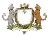 Cat pets heraldic shield coat of arms — Stock Vector