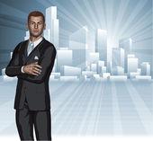 Confident young businessman city skyline concept — Stock Vector