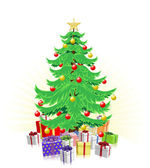 Christmas tree and gifts illustration — Stock Vector