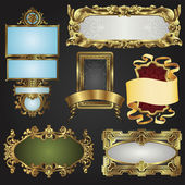 Vintage retro gold frames and labels — Stock Vector