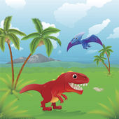Cartoon dinosaurs scene. — Stock Vector