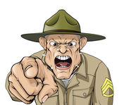Cartoon angry army drill sergeant shouting — Stock Vector