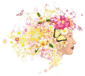 Beautiful woman with hair made of flowers — Stock Vector