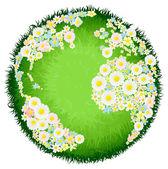 Floral flower globe concept — Stock Vector