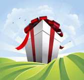 Giant gift in fields — Stock Vector