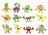 Set of colourful fruit character mascots — Stock Vector