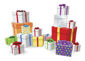 Stacks of presents concept — Stock Vector