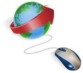 Maus und pfeil-globus — Stockvektor