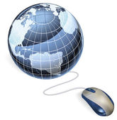 Mouse and globe — Stock Vector