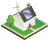 Sustainable renewable energy house — Stock Vector