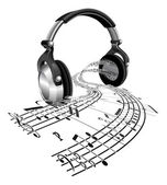 Headphones sheet music notes concept — Stock Vector
