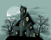 Creepy haunted ghost house scene illustration — Vector de stock