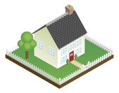 Quaint house with picket fence isometric view — Stock Vector