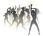 Beautiful dancers background — Stock Vector