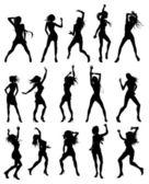 Belles femmes danser les silhouettes — Vecteur