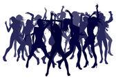 Beautiful women dancing silhouettes — Stock Vector