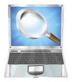 Magnifying glass search icon laptop concept — Stock Vector