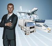 Logistics business man concept background — Stock Vector