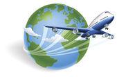 Airplane globe concept — Stock Vector