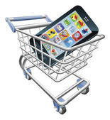 Smart phone shopping cart concept — Stok Vektör