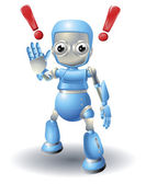 Cute robot character caution — Stock Vector