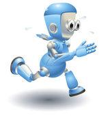 Cute blue robot character running — Stock Vector