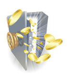 Safe with gold coins flying out — Stockvector
