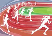 Running Race on Track — Stock Vector