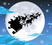 Santa in sled silhouette against full moon — Stock Vector