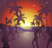Sunset beach party illustration — Stock Vector